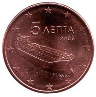 Монета 5 центов. 2006 год, Греция.