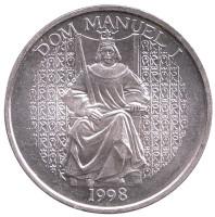 Король Португалии Мануэл I. Монета 1000 эскудо, 1998 год, Португалия.