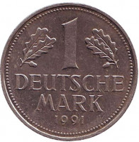 Монета 1 марка. 1991 год (D), ФРГ.