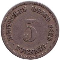 Монета 5 пфеннигов. 1888 год (A), Германская империя.