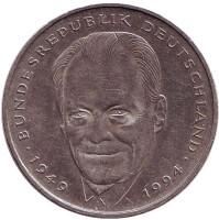 Вилли Брандт. Монета 2 марки. 1994 год (A), ФРГ.
