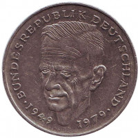 Курт Шумахер. Монета 2 марки. 1987 год (D), ФРГ. Из обращения.