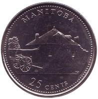 Манитоба. 125 лет Конфедерации Канады. Монета 25 центов. 1992 год, Канада.