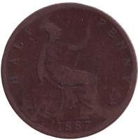 Монета 1/2 пенни. 1887 год, Великобритания.