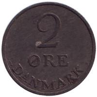 Монета 2 эре. 1951 год, Дания.
