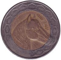 Лошадь. Монета 100 динаров. 2000 год, Алжир.