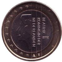Монета 1 евро. 2012 год, Нидерланды.