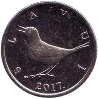 Западный соловей. Монета 1 куна. 2017 год, Хорватия.