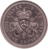 25 лет правления Королевы Елизаветы II. Герб. Монета 1 крона. 1977 год, Остров Мэн.
