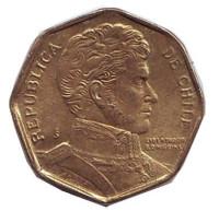 Бернардо О'Хиггинс. Монета 5 песо. 1993 год, Чили.