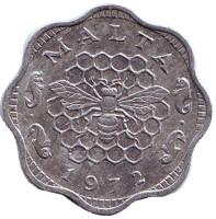 Пчела. Монета 3 милля. 1972 год, Кипр.