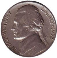 Джефферсон. Монтичелло. Монета 5 центов. 1952 год (S), США.