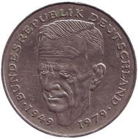 Курт Шумахер. Монета 2 марки. 1992 год (D), ФРГ.