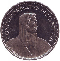Вильгельм Телль. Монета 5 франков. 2013 год, Швейцария.