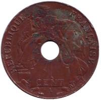 Монета 1 цент. 1939 год (A), Французский Индокитай.