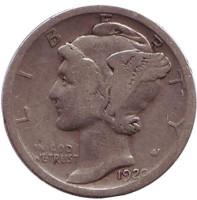 """Меркурий. Монета 10 центов. 1920 год, США. Монетный двор """"S""""."""