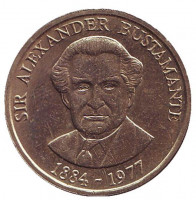 Александр Бустаманте - национальный герой Ямайки. Монета 1 доллар. 1991 год, Ямайка.