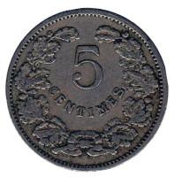 Монета 5 сантимов. 1908 год, Люксембург.