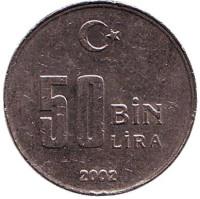Монета 50000 лир. 2002 год, Турция.