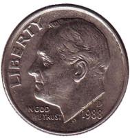 Рузвельт. Монета 10 центов. 1988 (D) год, США.