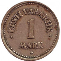 Монета 1 марка. 1924 год, Эстония.
