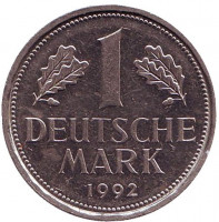 Монета 1 марка. 1992 год (F), ФРГ.