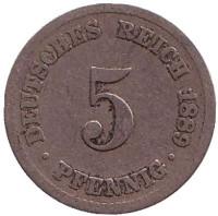 Монета 5 пфеннигов. 1889 год (A), Германская империя.