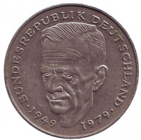 Курт Шумахер. Монета 2 марки. 1988 год (F), ФРГ. Из обращения.