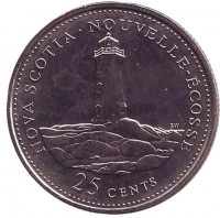 Новая Шотландия. 125 лет Конфедерации Канады. Монета 25 центов. 1992 год, Канада.