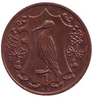 Хохлатый баклан. Монета 1 пенни. 1987 год, Остров Мэн. (AB)