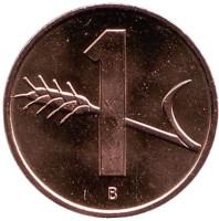 Монета 1 раппен. 2005 год, Швейцария. UNC.