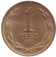 Бернардо О'Хиггинс. Монета 1 песо. 1985 год, Чили.