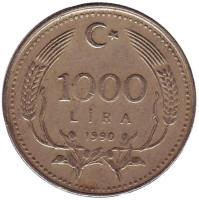 Монета 1000 лир. 1990 год, Турция.