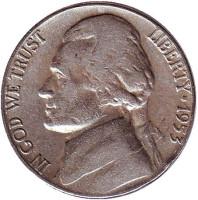 Джефферсон. Монтичелло. Монета 5 центов. 1953 год, США.