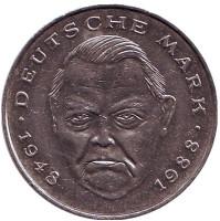 Людвиг Эрхард. Монета 2 марки. 1988 год (J), ФРГ.