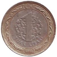 Монета 1 лира. 2013 год, Турция.