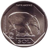 Горный тапир. Фауна Перу. Монета 1 соль. 2018 год, Перу.