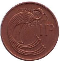 Птица. Ирландская арфа. Монета 1 пенни. 1988 год, Ирландия. (Магнитная)