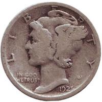 """Меркурий. Монета 10 центов. 1925 год, США. Монетный двор """"S""""."""