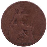 Монета 1/2 пенни. 1918 год, Великобритания. (Без отметки монетного двора)