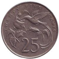 Монета 25 центов. 1986 год, Ямайка.