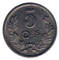 Монета 5 сантимов. 1924 год, Люксембург.