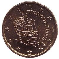 Монета 20 центов. 2014 год, Кипр.