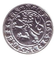 Пражский грош. Лев. Сувенирный жетон, Чехия.