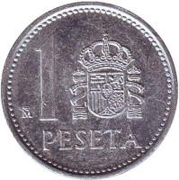 Монета 1 песета. 1986 год, Испания.