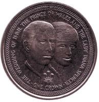 Свадьба Принца Чарльза и Леди Дианы. Портреты. Монета 1 крона. 1981 год, Остров Мэн.