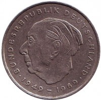 Теодор Хойс. Монета 2 марки. 1973 год (J), ФРГ.