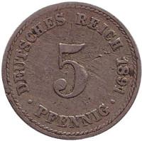 Монета 5 пфеннигов. 1891 год (A), Германская империя.