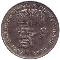 Курт Шумахер. Монета 2 марки. 1989 год (D), ФРГ. Из обращения.