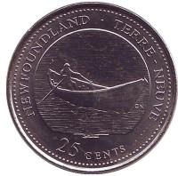 Ньюфаундленд и Лабрадор. 125 лет Конфедерации Канады. Монета 25 центов. 1992 год, Канада.